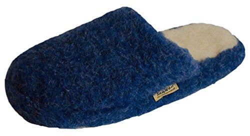 SamWo, Schafwoll-Wohlfühl-Hausschuhe/Pantoffeln,weiche Rutschfeste Sohle,100% Schafwolle, Größe: 37-38 blau
