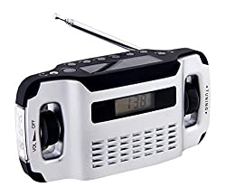 Powerplus Lynx tragbares Solarradio Dynamoradio mit integrierter Taschenlampe und Handyladefunktion silber