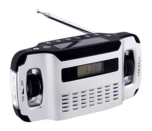 Preisvergleich Produktbild Powerplus Lynx tragbares Solarradio Dynamoradio mit integrierter Taschenlampe und Handyladefunktion silber