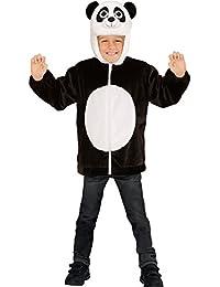 Sweatjacke Panda Plüsch Kinder Pluesch Jacke mit Kapuze Jumper Hoody Weste Teddy, Größe:113