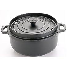 Invicta - 30222 noir - Cocotte ronde en fonte émaillée 22cm noire Mijoteuse