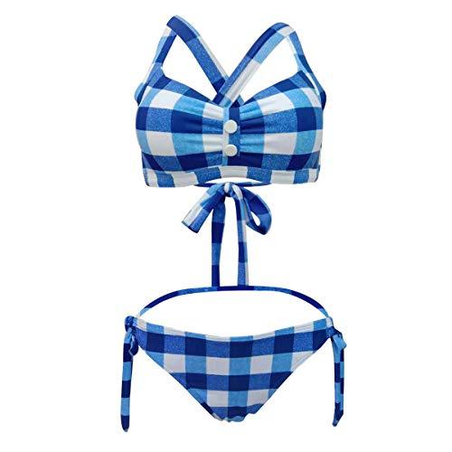 Viloree Vintage Damen Bikini Set 2 Pieces Bademode Push up Neckholder Seitlich Gebunden Blau & Weiss Kariert S -