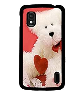 PrintDhaba Teddy with Heart D-1004 Back Case Cover for LG GOOGLE NEXUS 4 (Multi-Coloured)
