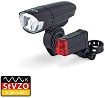 Dansi 44001 Bicycle Battery Light Set with German Road Traffic Regulations Approval LED Set with Front and Rear Light,...