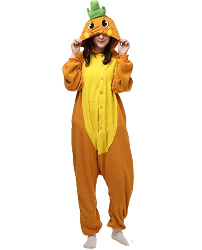Fandecie Pyjama Tier Onesies mit Kapuze Erwachsene Unisex Cospaly Schlafanzug Halloween Kostüm Karotte Geeignet für Hohe ()