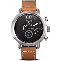 Chotovelli Vintage Pilot Men's Chronograph Watch Analogue display Brown leather Strap 72.11