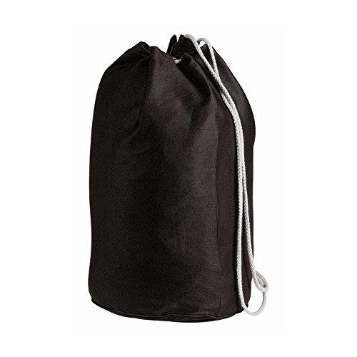Borsa marinaio di cotone con coulisse - tela di cotone duffle nero