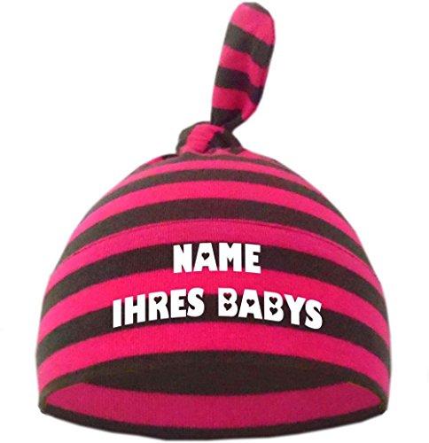Baby Mütze bedruckt mit dem NAMEN des Kindes / in 9 Farben, Pink-Grau, Gr. 1 (0 - 74)