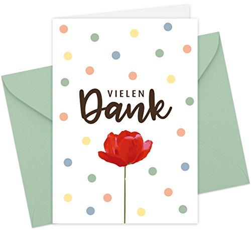 20 Karten & 20 Umschläge: Klappkarten Dankeskarten