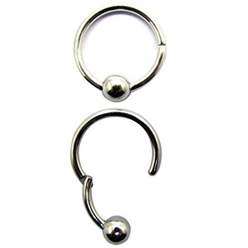 14G 3/8\'\'(10mm) 316L Stahl Scharnier Clicker Captive Bead Septum Lippen Nippel Daith Ringe Ball Closure-Ball ist nie verloren und Keine Notwendigkeit, den Ball aus oder zurück