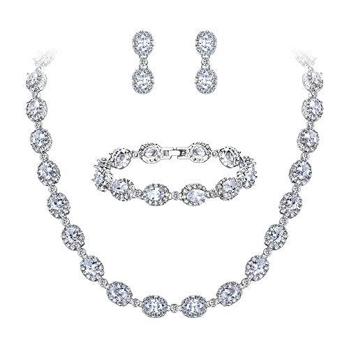 Ever Faith Damen CZ Hochzeit Braut Oval Teardrop Halskette Ohrringe Armband Set klar ()
