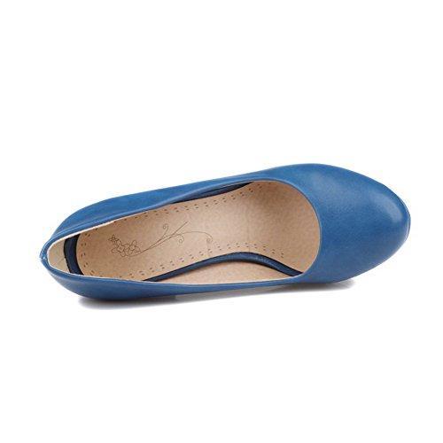 VogueZone009 Femme à Talon Haut Tire Couleur Unie Matière Souple Rond Chaussures Légeres Bleu