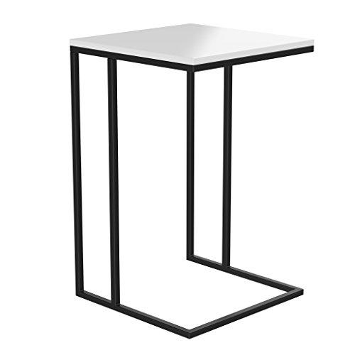 BonVivo Leonardo Designer Beistelltisch Für Sofa und Couch, Ablage-Tisch Hoch und Eckig, Kleiner Couch-Tisch Mit Metall-Gestell In Schwarz und Holz-Tischplatte In Weiß