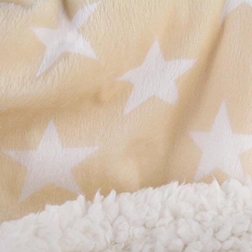 Bettwäsche 2tlg 135x200 Lammfell Sherpa Optik Nicki Sterne Lamm Fell Wende Bettwäsche Winter Bettbezug Bettgarnitur flauschig kuschelig mollig warm CelinaTex 5000114 Fantasia Stella beige weiß (Stella Schlafzimmer-set)