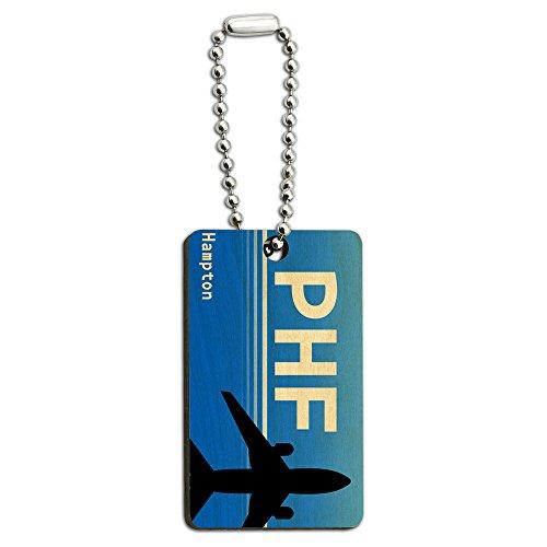 Hampton Holz (Hampton VA (PHF) Flughafen Code Holz Rechteck Schlüssel Kette)