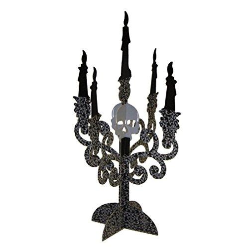 2 Stk. Kerzenleuchter Halloween Deko Kerzenständer Totenkopf Kerzenhalter Schädel Kerzen Leuchter Skull Tischdeko