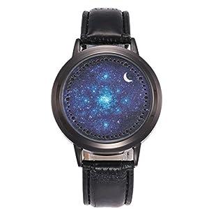 Unisex Uhren, BBring Herren Fashion LED Sternenhimmel Mond PU Lederband Analog Quarz Uhren
