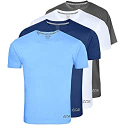 AWG - All Weather Gear Men Yoga T-Shirt (Navy Blue/Dark Grey/White/Sky Blue Medium)
