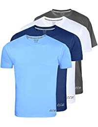 AWG - All Weather Gear AWG Men's Dryfit Polyester Round Neck Half Sleeve T-Shirts - Value Pack of 4
