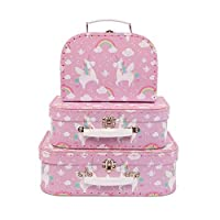 Sass & Belle Rainbow Unicorn Suitcases - Set of 3