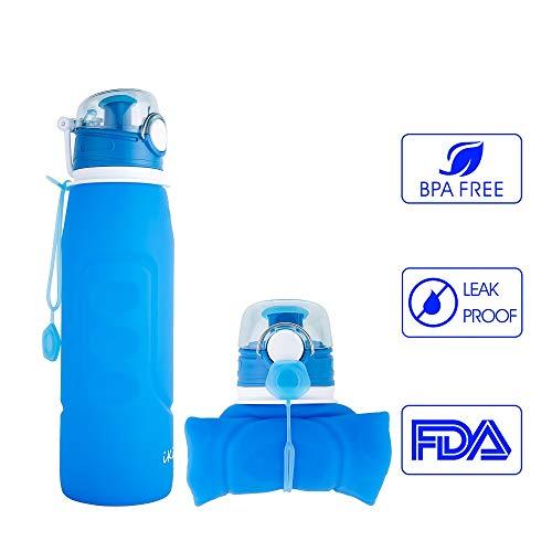 iKiKin Adult Wasserflasche, Gel, Medical Grade, BPA frei, Leckproof Silikon Faltbare Sportflasche für Sport, Outdoor, Reisen, Camping, Picknick (1000ml 1L 35 oz) (Blau)