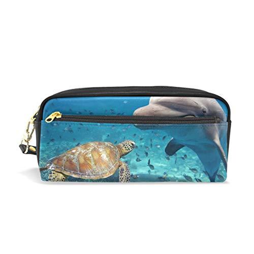 CPYang Federmäppchen/Mäppchen aus Leder, mit Reißverschluss, Schildkröte, Delfin-Motiv, für Stifte, für Studenten, Schreibwaren, Kosmetik, Make-up-Tasche