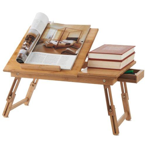 Mesa de Bambú para Portátil Plegable VonHaus con Cajón - Escritorio de...