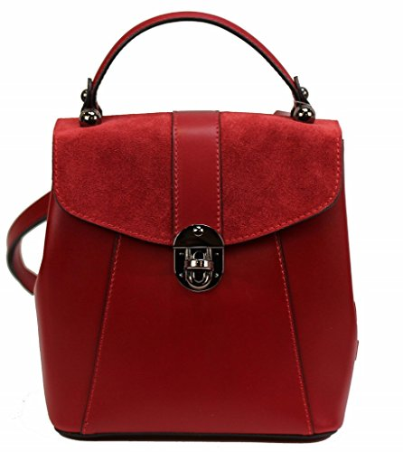 Bozana Bag Bo rot Backpacker Designer Rucksack Ledertasche Damenhandtasche Schultertasche Leder Nappa sheep ItalyNeu (Rot Leder Prada)