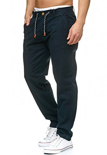 Indicode Herren Veneto Stoffhose aus 55% Leinen & 45% Baumwolle m. 4 Taschen | Lange sportliche Regular Fit Hose Moderne Baumwollhose Leinenhose Bequeme Freizeithose f. Männer in Navy L