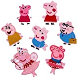 iDream Iron on Patches Peppa Style Embroidery Applique Decoration for Clothes L2-S55 (Pack of 7)