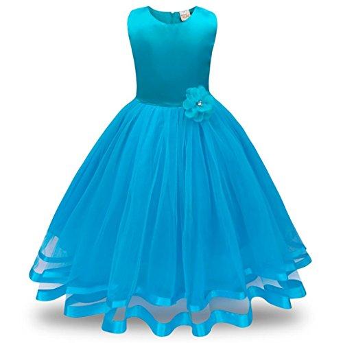 nkleider Tutu Tüll Prinzessin Hochzeit Spitze Kinder Hochzeit Ballkleid Kleider (Höhe: 110 cm, Hellblau) ()