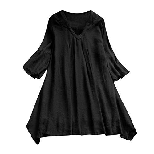 JMETRIC Retro Langarm-Shirt Bluse, Böhmisches Stil Hemd Tops Oberteil, Volltonfarbe Stil und Kariertes Muster Stil(Schwarz,2XL)