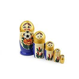 Heka Naturals Matryoshka Bambole Russe di nidificazione Campionato Mondiale di Calcio 2018 Babushka Classico Fatto a Mano in Russia Giocattolo Regalo in Legno
