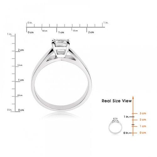 Diamond Manufacturers, Damen, Verlobungsring mit 0.25 Karat E/VS1 feinem und zertifiziertem Smaragddiamant in 18k Weißgold, Gr. 41 - 5