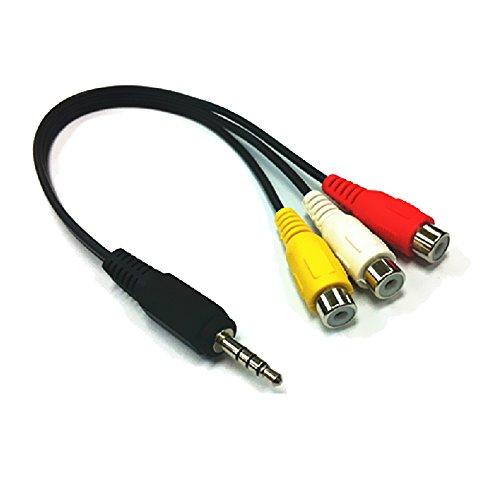 Upper - Connettore da 25cm,  3,5mm AV da maschio a 3RCA cavo audio e video femmina, jack cavo adattatore, nero