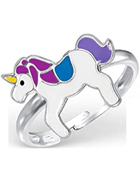 Bungsa© Kinder-Ring EINHORN aus STERLING SILBER 925 - süßer Fingerring mit GEFLÜGELTEM PFERD für Kinder - 1 silberner...