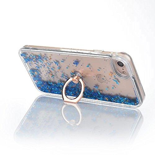 Flüssigkeit Handyhülle Für iPhone 7 4.7 Zoll,Herzzer Luxus Luxuriös Fließt Treibsand Durchsichtige Kristall Glänzend Glitzer Diamant Fließen Flüssig Flüssigkeit Plastik Handyhülle Tasche Crystal Case  Blau