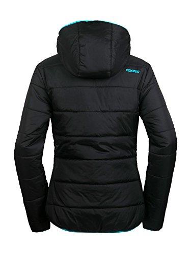 aparso Damen Steppjacke Winterjacke mit Kapuze warm leicht wattiert Schwarz