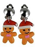 Ohrringe Schmuck Ohrclip Clip Clipse - ohne Loch tragbar - Lebkuchen Männchen silberfarben Weihnachten 12.422
