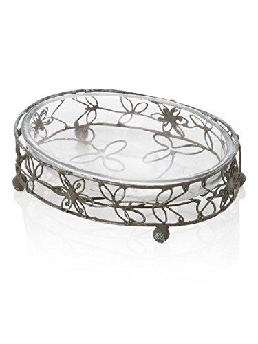 Seifenschale oval mit Untertasse aus Glas 14.5x 10.5x 3cm Variante unica -