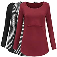 Jezero Women's Long Sleeve Nursing Tops Round Neck Breastfeeding Tunic