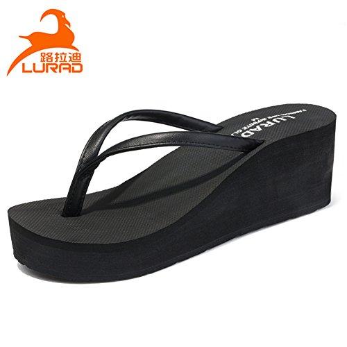 tacco alto signore infradito/Pendenza di fondo spesso in estate con la versione coreana del pattino corrente all'estremità della spiaggia sandali e ciabatte A