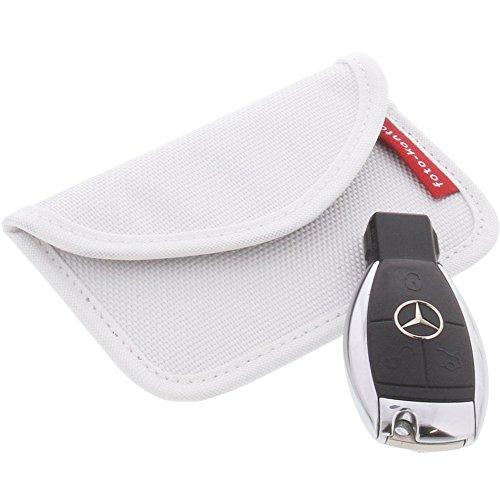 Strahlenschutz Tasche für Keyless Schlüssel Entry Open Go Diebstahl Schutz kein Signal L Weiß