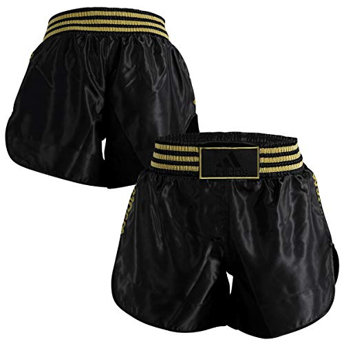 Adidas shorts thai boxe in satin nero/oro l