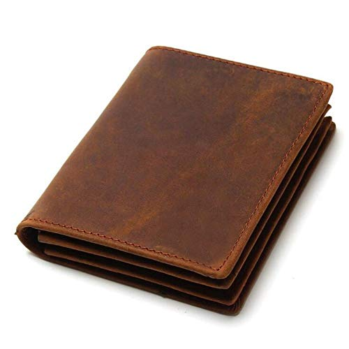 Rcnry RFID Anti-Magnetism And Anti-Theft Scalp Leather Men's Wallet, Old Leather, Retro Vertical Short Wallet, Coffee, Brown,Brown Verticale
