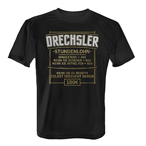 Fashionalarm Herren T-Shirt - Stundenlohn - Drechsler | Fun Shirt mit lustigem Spruch als Geschenk Idee für Dreher Handwerker Beruf Job Arbeit Schwarz