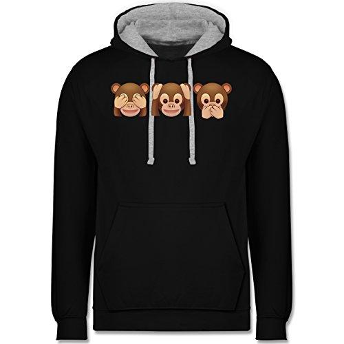 Comic Shirts - Äffchen Emoji - Kontrast Hoodie Schwarz/Grau Meliert