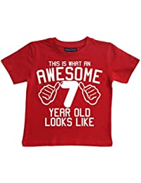 Edward Sinclair This What AN Awesome 7 Year Old Looks Like Red Boys 7th Birthday T-Shirt in Size 7-8 Years with A White Print