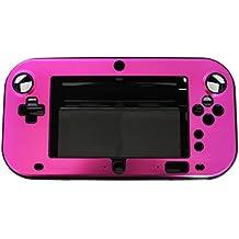 OSTENT Funda de caja de metal duro antichoque aluminio resistente al agua Shell compatible con Nintendo Wii U Gamepad Color rosa rojo
