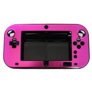 OSTENT Anti-Schock Hard Aluminum Box Cover Case Shell kompatibel für Nintendo Wii U Gamepad Farbe Rose Red